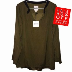 by SMITH Long Sleeve Robert Blouse Top Olive NWT L